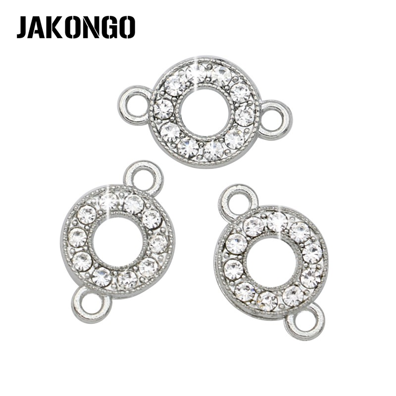 JAKONGO Silver Color Crystal Round Circle Connectors For Jewelry Making Bracelet Jewelry Findings Accessories 13x9mm 5pcs/lot