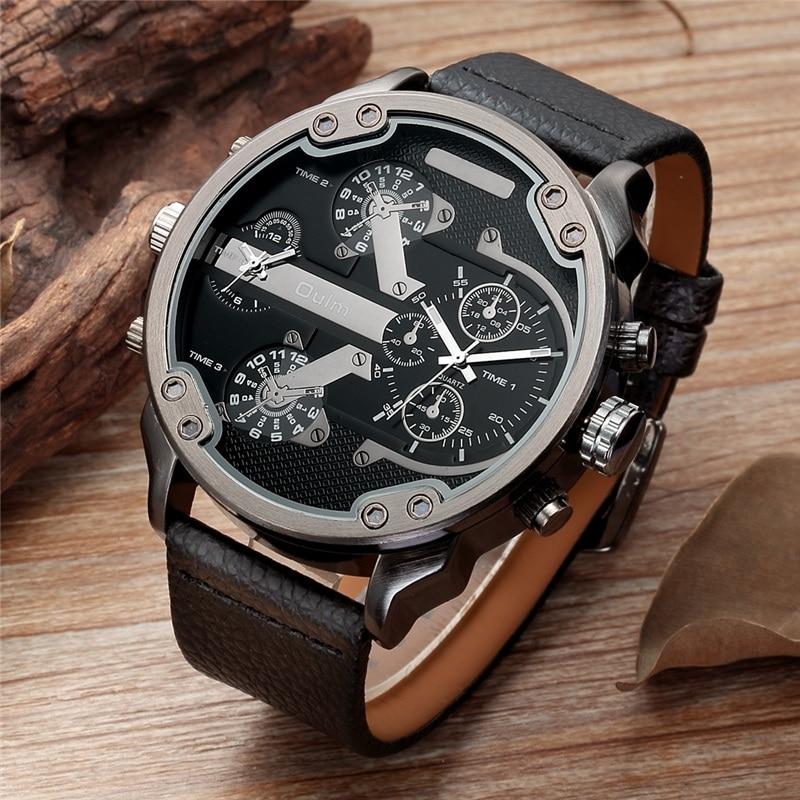 63ab848bb67 Relógios dos homens Oulm Super Grande Tamanho Dois Fuso Horário de Quartzo  Relógio Masculino Pulseira de