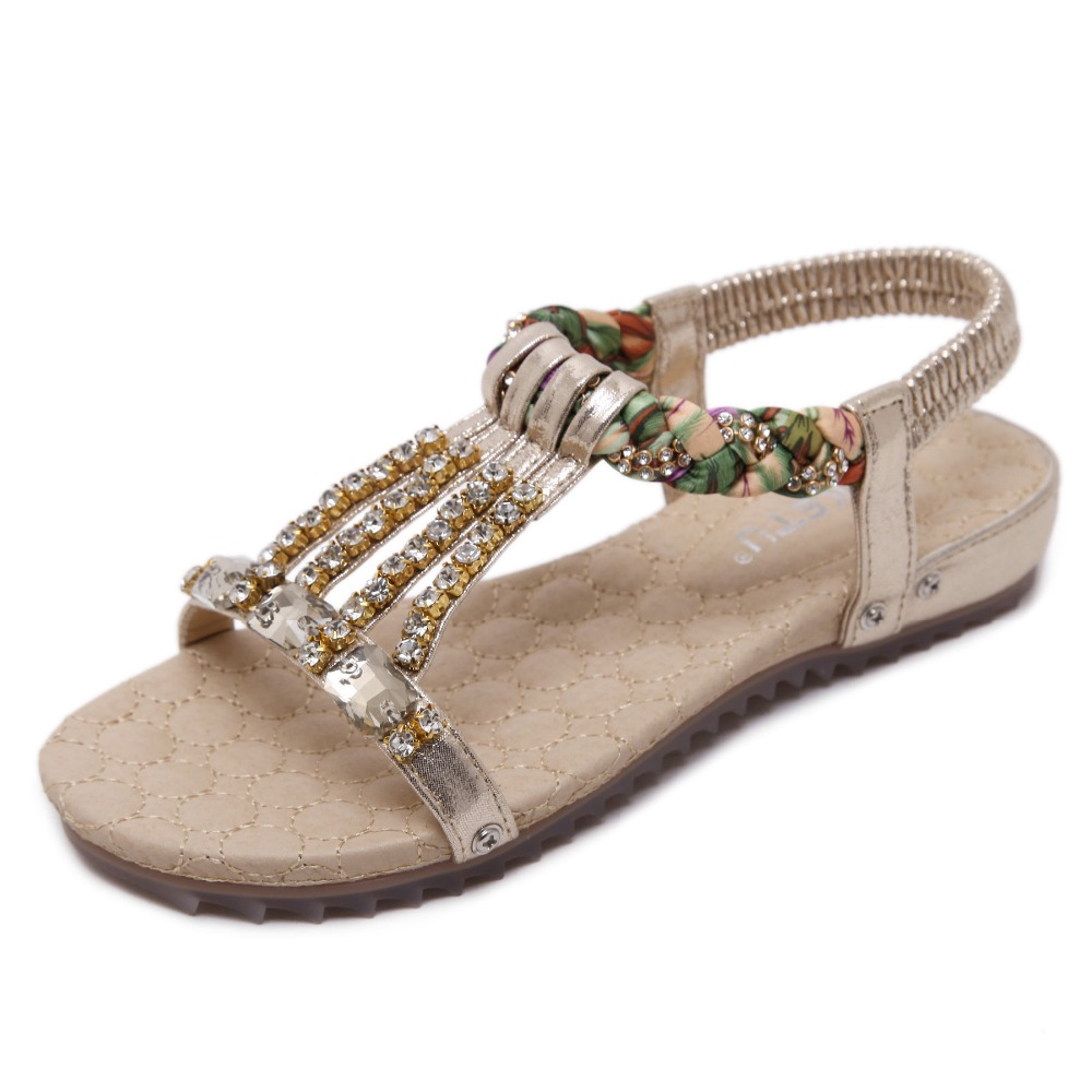 Bohemian Women's Sandals Gemstone Slippers Summer Women Beach Sandals Ladies Flat Sandals Shoes Women Zapatos Mujer 4