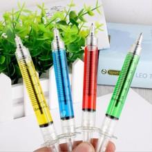 DHL Free Shipping,500PC Syringe ballpoint pen black ink Novelty Plastic Novelty pens 4 Collors Mixed Stationery