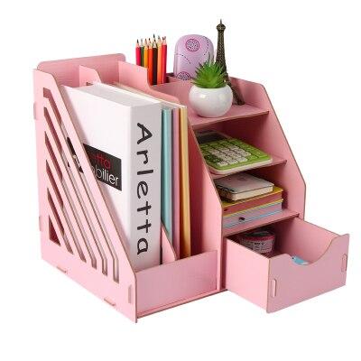 Organisateur de bureau en bois bureau papier plateau accessoires de bureau porte revues A4 boîte organisateur de fichier
