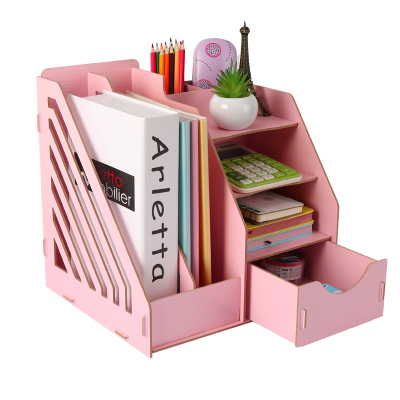Wooden Desk Organizer Office Paper Tray Desk Accessories Magazine Holder A4 File Organizer Box hot sale dental 80 holder tray for implant drill bur organizer holder box tray