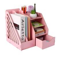 Wooden Desk Organizer Office Paper Tray Desk Accessories Magazine Holder A4 File Organizer Box
