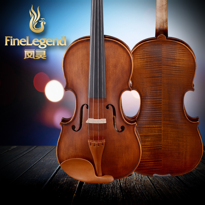 FineLegend 4/4 Full Size Handmade Wood Pattern Professional Violin Solid Spruce Flamed Maple with Bow, Case, Rosin LCV2113 cheap fashion glitter dial clock watch women casual pu leather analog quartz watch roman numerals dress watches wristwatch
