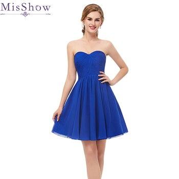 3ab1ad55e Gasa vestido barato azul real una línea mini vestido de cóctel por encima de  la rodilla corto gasa vestido de graduación vestidos