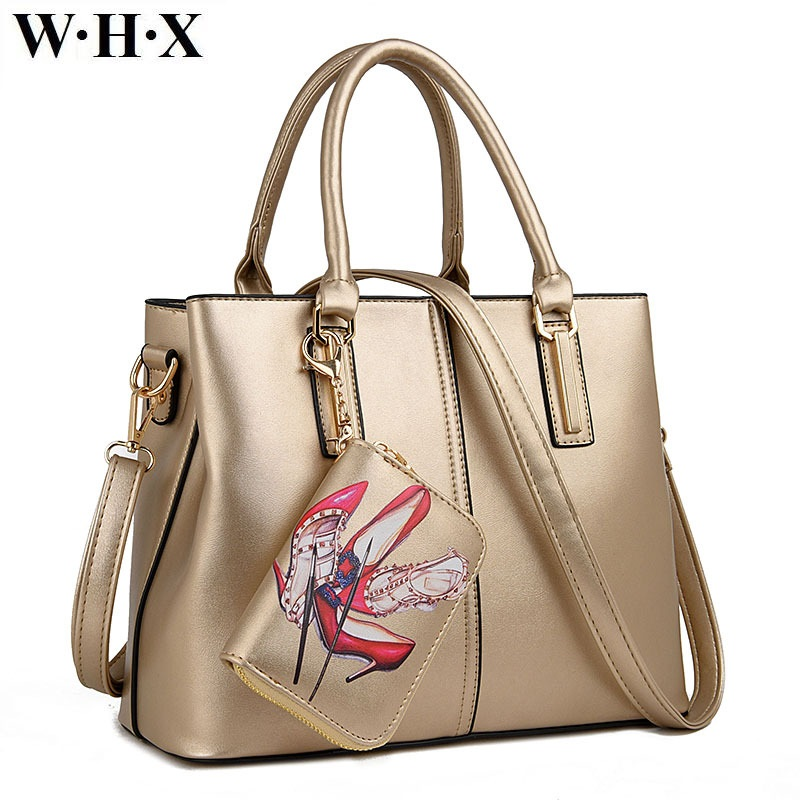 WHX Fashion Casual Women Lash Bag Tote Bag Messenger Shoulder Cross Body Bags Female Golden Handbag leather With Purse Wallets pair of chic cube shape and water drop pendant embellished earrings for women