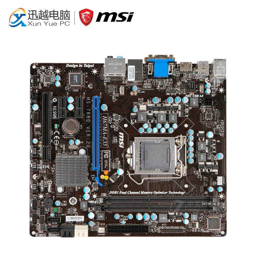 MSI H67MA-E35(B3) Desktop Motherboard H67 Socket LGA 1155 i3 i5 i7 DDR3 16G SATA3 Micro-ATX used motherboard mainboard for msi h67ma e35 lga 1155 ddr3 16gb usb2 0 usb3 0 vga dvi hdmi micro atx board
