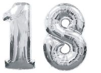 2pcs GIANT SILVER FOIL BALLOONS Nos 1 8 18th BIRTHDAY PARTY DECORATION Kits Supplies