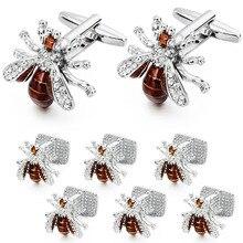 Studs-Set Tuxedo Bee-Cufflinks Crystal HAWSON Luxury And Men for Gift Shinning Funny