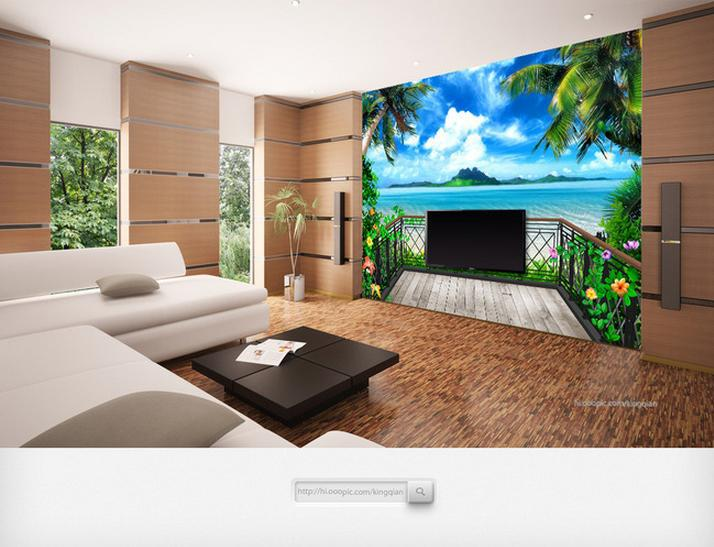 Купить с кэшбэком Custom photo wallpaper murals 3 d fantasy balcony beach seascape TV setting wall papers for living room decoration