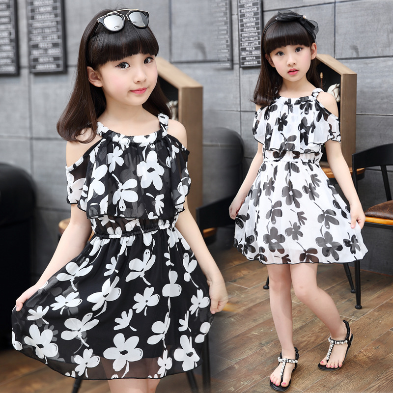 Teenage Girl Dresses Summer 2016 Childrens Clothing Kids Flower Dress Chiffon Princess Dresses For Age 7 8 9 10 11 12 Years