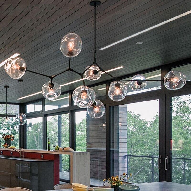 Loft lustres Noir/Or Bar Escalier À Manger Salon Verre Lindsey adelman E27 Titulaires Plafond éclairage de chandelier Appareils