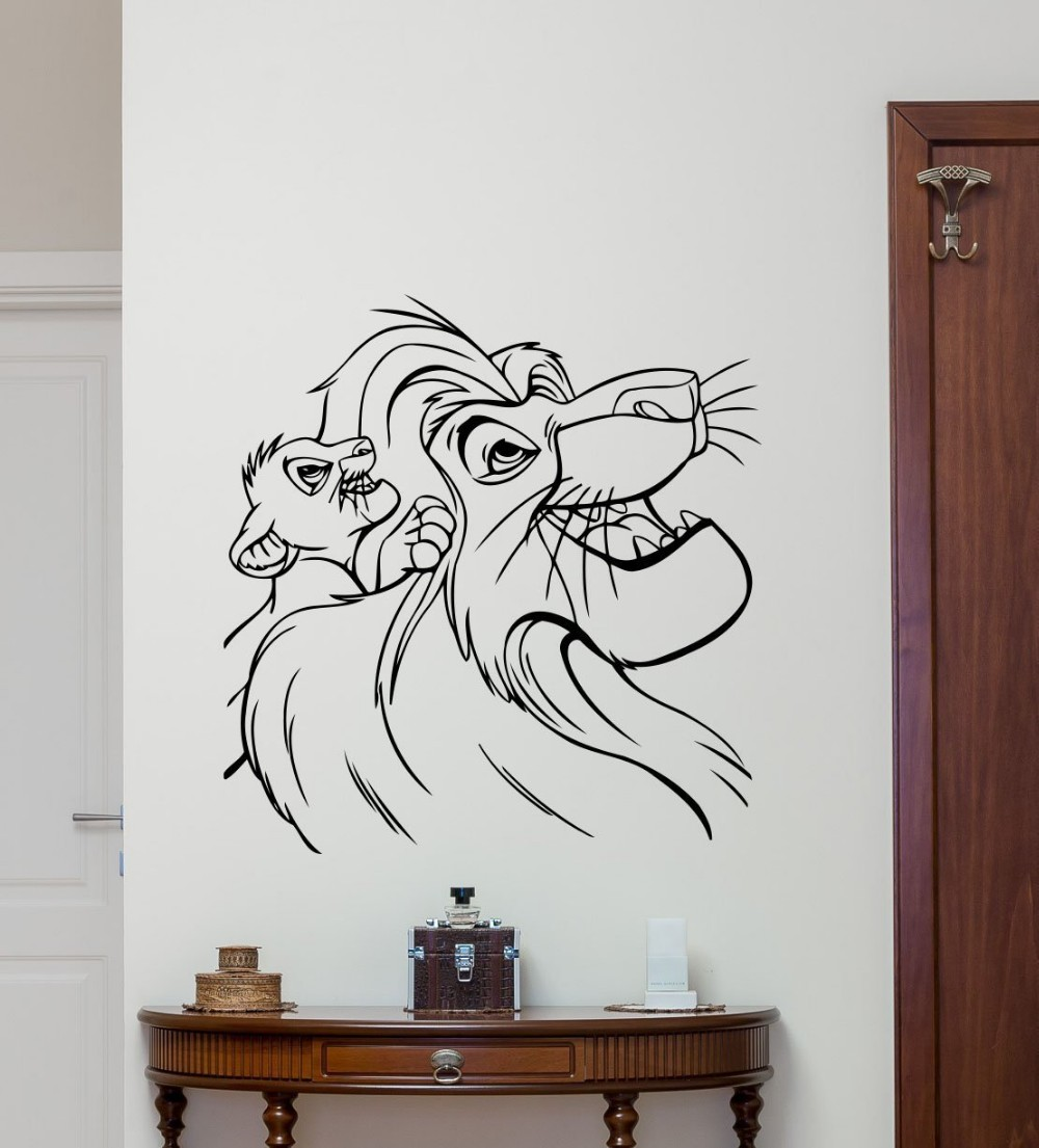 New Arrival Lion King Wall Decal Cartoons Vinyl Sticker Simba Nursery Wall  Decor Kids Baby Room