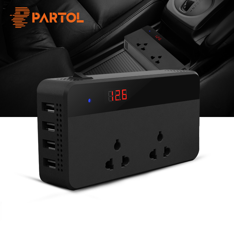 Partol Car Inverter 12V 220V 200W Power Inverter Voltage Converter With 4 USB Socket Charger Auto Cigarette Lighter Automobiles partol usb charging