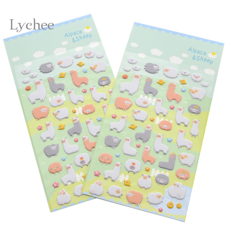 Lychee 2pcs Set Novelty Cartoon Alpaca Bubble Sticker Craft