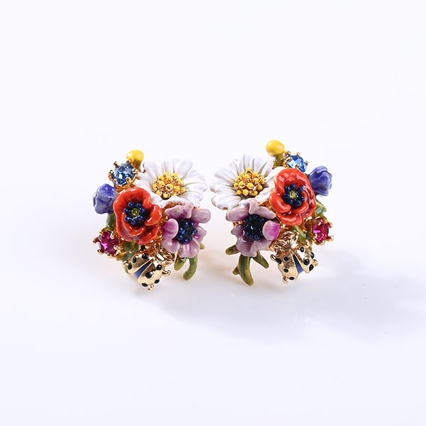European Fashion Jewelry Les Nereides Red Poppies Daisy Stud Earrings Party Free Shipping