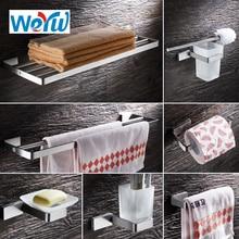 WEYUU Metal Bathroom Series Towel Rack ,Soap Dish,Toilet Paper Holder and more Stainless Steel Bathrooms Hardware Sets Square