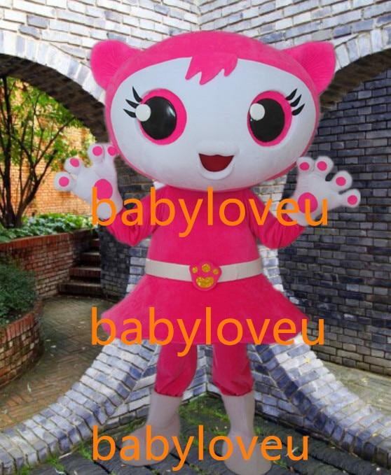 Babyloveu New high quality pink cat Mascot Costume custom fancy costume anime cosplay kits mascotte theme fancy dress carnival costume