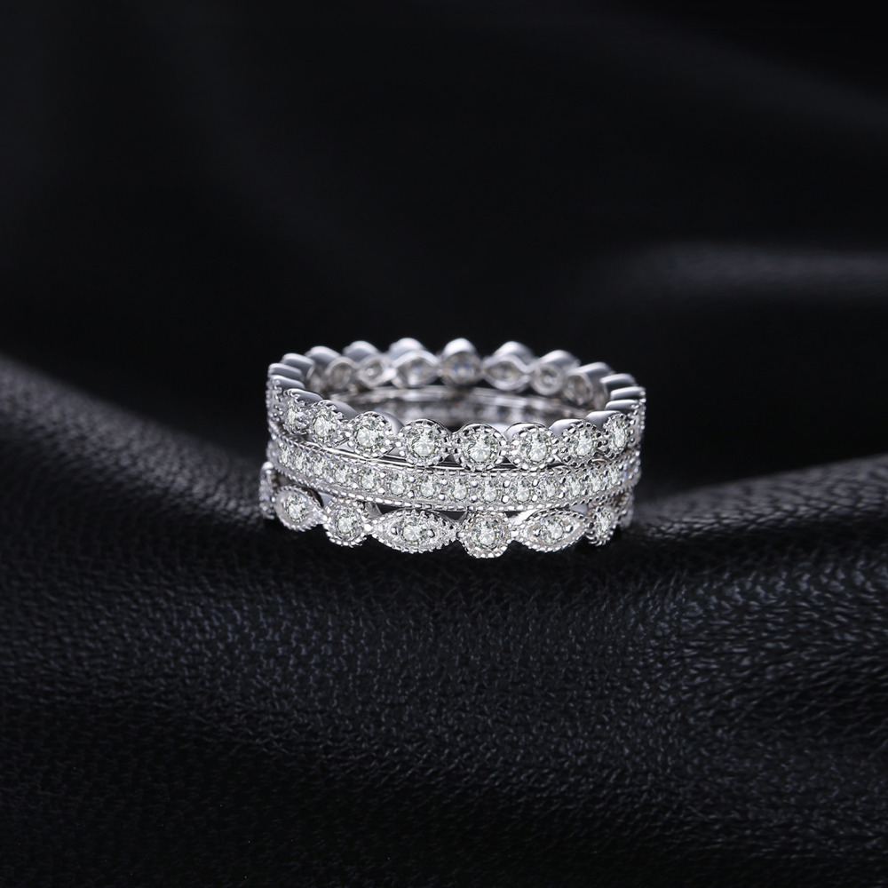 Jewelrypalace mode 2.15ct cubic zirconia 3 keabadian band rings untuk - Perhiasan fashion - Foto 2