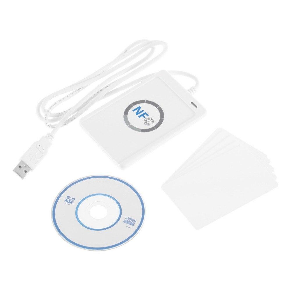 1 pc USB ACR122U NFC RFID Lecteur de Carte à Puce Pour les 4 types de NFC (ISO/IEC18092) Tags + 5 pièces M1 Cartes