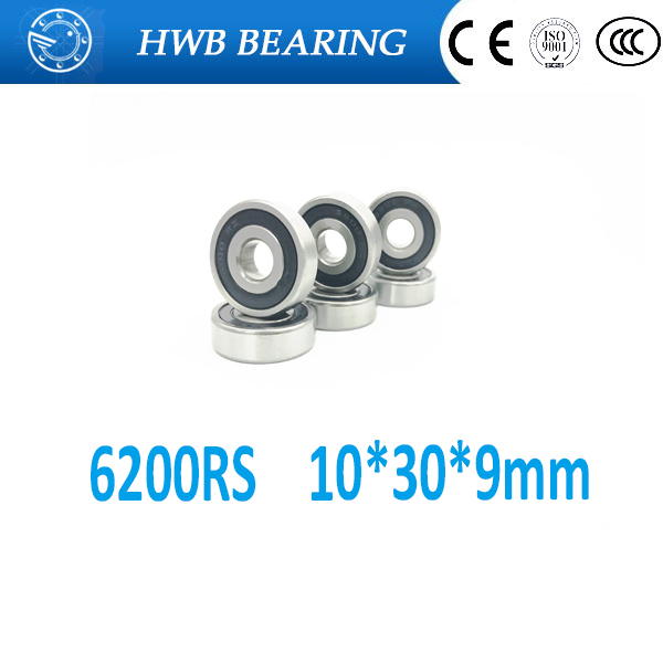 free shipping 10pcs 6200-2RS 6200 rs 10*30*9 mm double Rubber sealing cover deep groove ball bearing цены