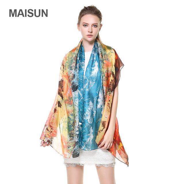 [MAISUN] 2016 Mulher Marca de Moda Lenço de Seda Lenços de Impressão Tamanho Grande Pintura A Óleo Estilo Lady Xaile