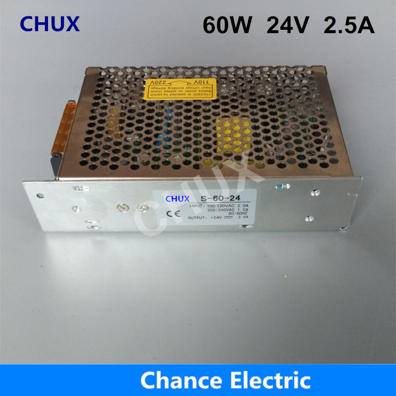 DC Switching Power Supply 24v CE ROHS DC To AC Single Output S-60W-24V 2.5A For Led Driver Strip Power Supply 60W ce rohs high power scn 1500 24v ac dc single output switching power supply with parallel function
