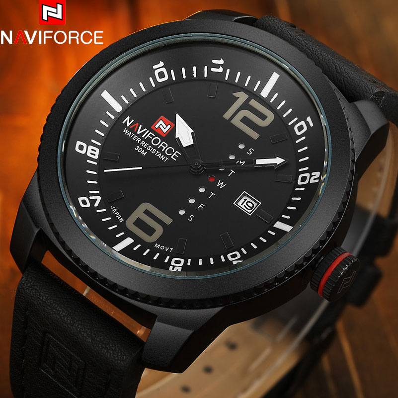 NAVIFORCE Top Brand Fashion Casual Quartz Watch Men Army Military Sports Watches Leather Band Creative Week Date Calendar Clock nary fashion watch leather strap men s watches quartz clock womens watch double calendar with date week lovers casual wristwatch