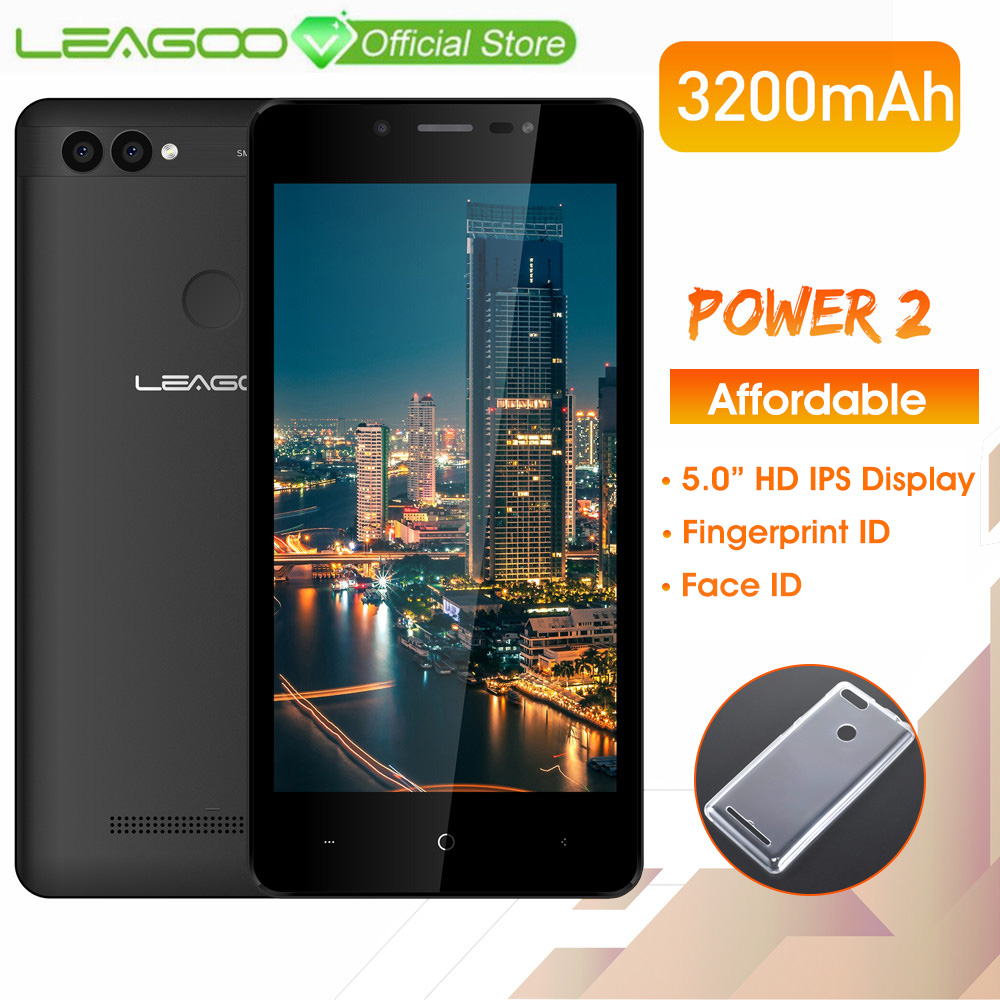 "LEAGOO POWER 2 Mobile Phone Android 8.1 5.0""HD IPS 2GB RAM 16GB ROM MT6580A Quad Core Dual Camera Fingerprint ID 3G Smartphone-in Cellphones from Cellphones & Telecommunications"