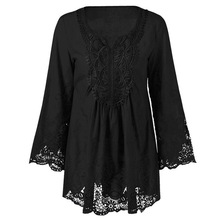 Gamiss Plus Size 5XL Female Blusa Retro Spring Autumn Lace Floral Crochet Patchwork Hollow Long Sleeve Top Feminine Blouse Shirt