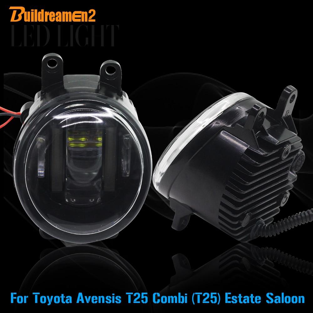 Buildreamen2 2 X Voiture LED Brouillard Lumière Blanc Feux de jour DRL Haute Lumens Pour Toyota Avensis T25 Combi (T25) immobilier Saloon