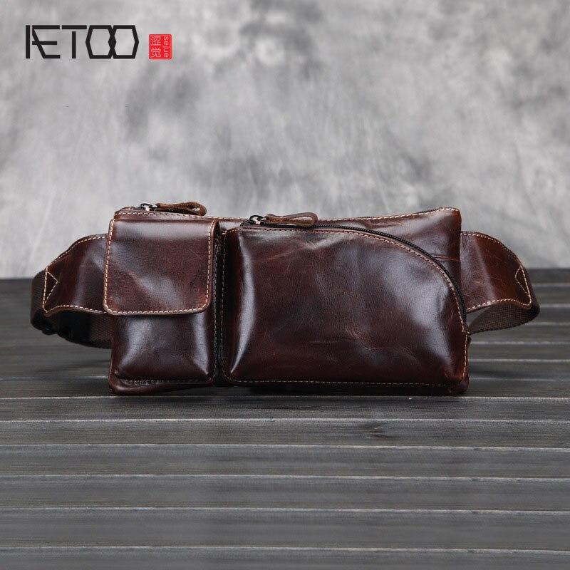 AETOO nouvelle cire d'huile rétro vintage en cuir de vache taille packs hommes voyage loisirs poitrine packs petit sacs 100% en cuir véritable