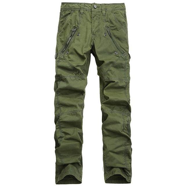 Pantalones Cargo para hombre Con Cremallera Bolsillos Pantalones Tácticos Pantalones Cargo de Los Hombres Pantalones de Algodón Ocasional Masculina General Militar Verde Del Ejército Superior