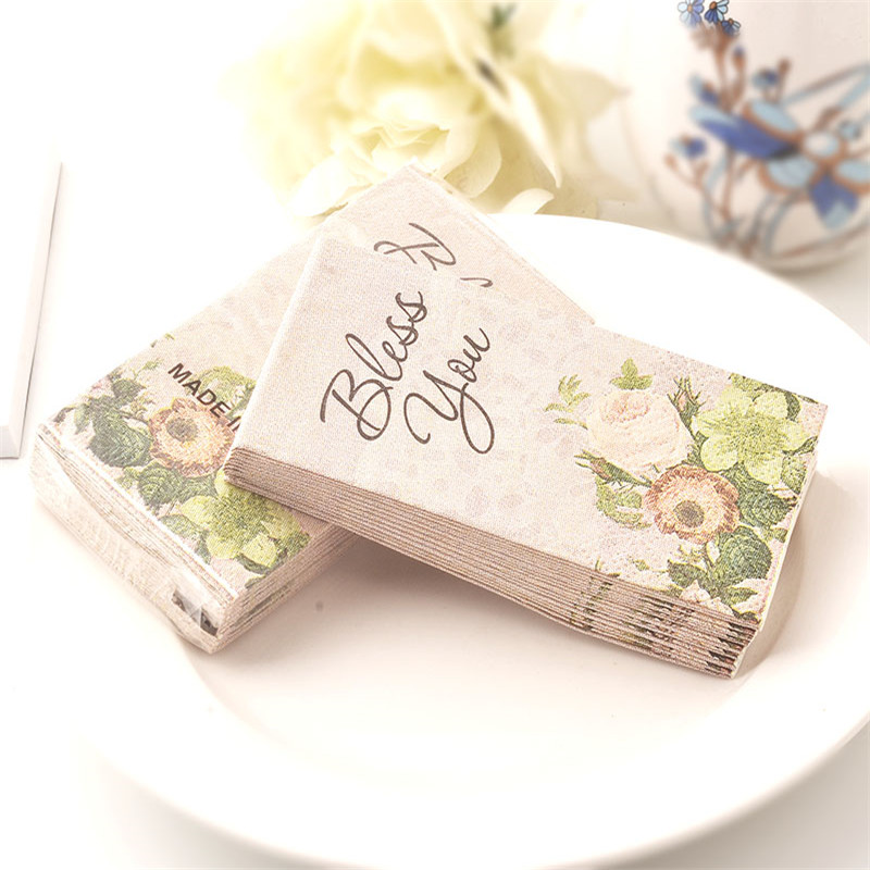 10pcs 3 Layer Bless You Flower Wedding Pocket Paper Napkins For Party Decoration Supplies In Hair Clips Pins From Beauty Health On