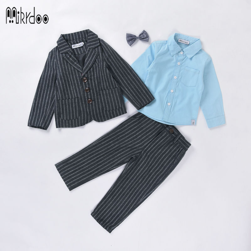 Boys clothes formal gentleman suit blazers tuexdo terno kids coat bow shirt pants wedding striped clothing set children costume