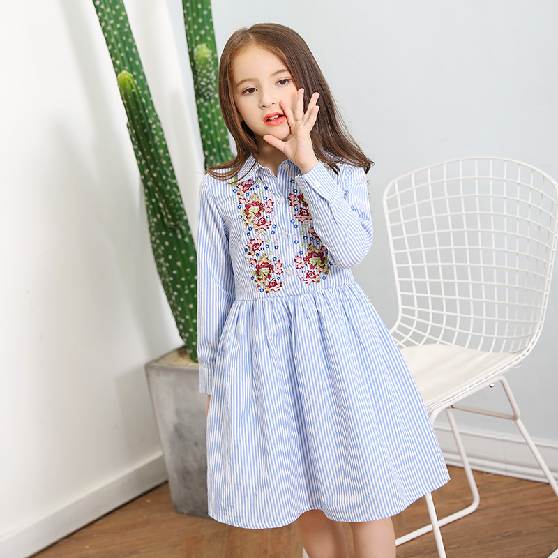 2017 Autumn Girls Flower Embrodiery Clothes Children Floral Dresses Dress Blue Striped Wear for age5678910 11 12 13 14 Years old girls dresses fruit design pineapple orange dress summer kids clothes flower print for kids age 5678910 11 12 13 14 years old
