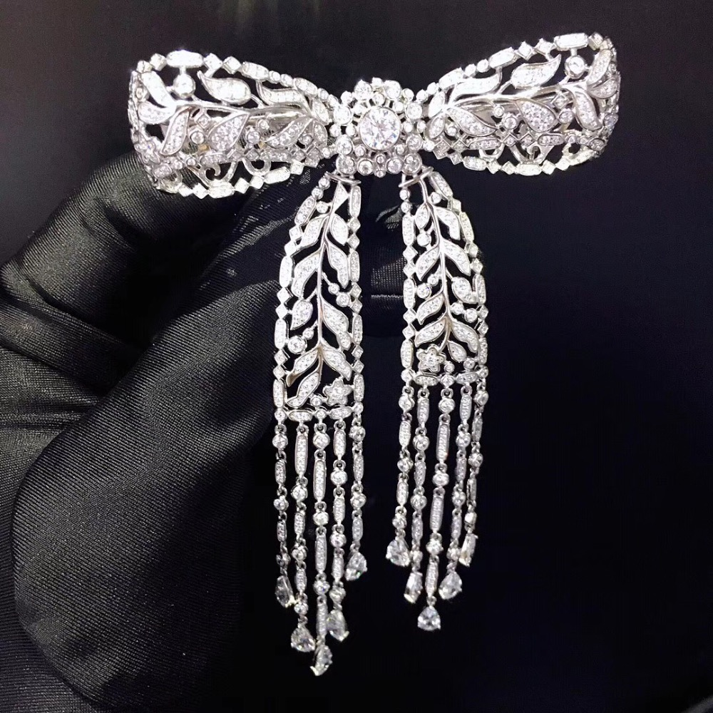 high quality 925 sterling silver with cubic zircon bowknot brooch tassels fashion women jewelry free shipping