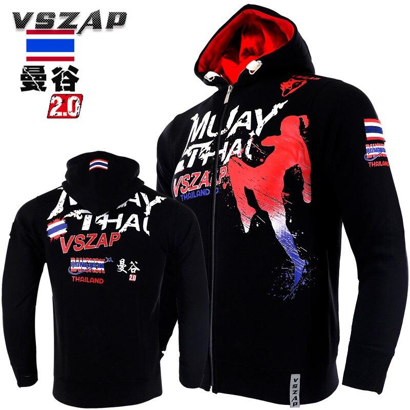 VSZAP Men's Hoodie Jacket MMA Long Sleeve Hooded Sport Sweatshirt Long-sleeved Thickening Fighting Boxing Training Taekwondo