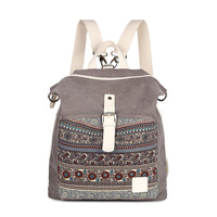 Women S National Style Retro Backpack School Wind Shoulder Bag Girl Canvas Flower Backpack Practical Bag