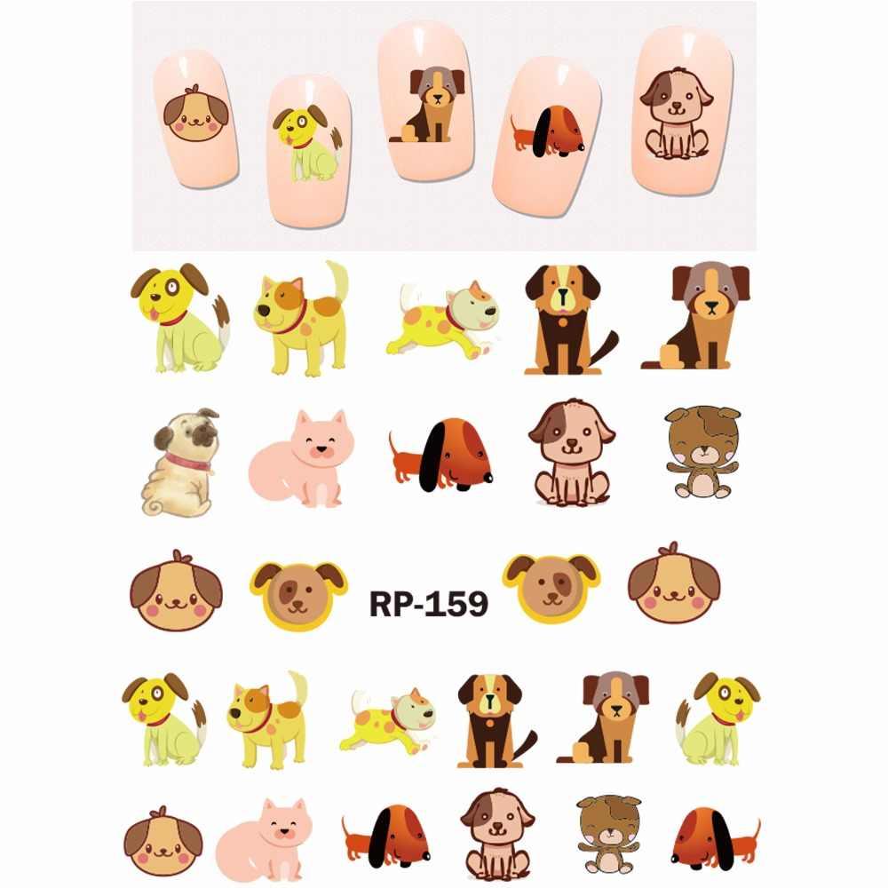 네일 아트 뷰티 네일 스티커 워터 데칼 슬라이더 만화 동물 개 불 테리어 스패니얼 하운드 발 뼈 하우스 RP157-162
