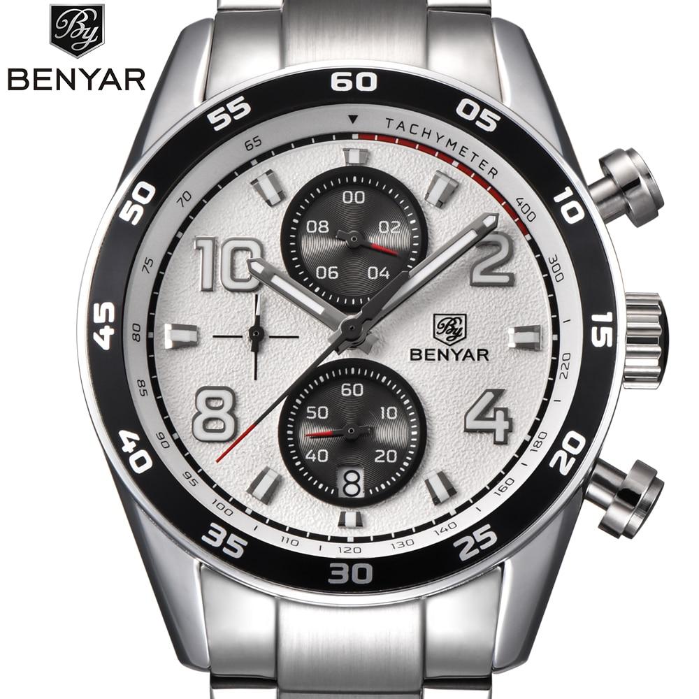 New BENYAR Luxury Famous Brand Men Watches Men's Fashion Casual Steel band watch Military Quartz Sport Watch Clocks Wristwatch