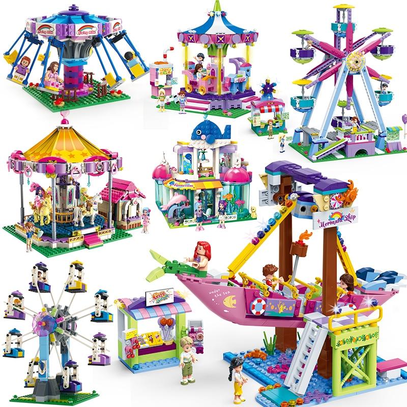 City Compatible Legoed Friends Ferris Wheel Park Bumper Car Carousel Assemble Building Blocks Bricks Kids DIY Toy For Girls Gift