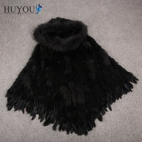 Free Shipping Women's Real Rabbit Fur Knitted Shawl Natural Fur Cloak Vest With Big Raccoon Fur Collar 2017 Hot New JM170957