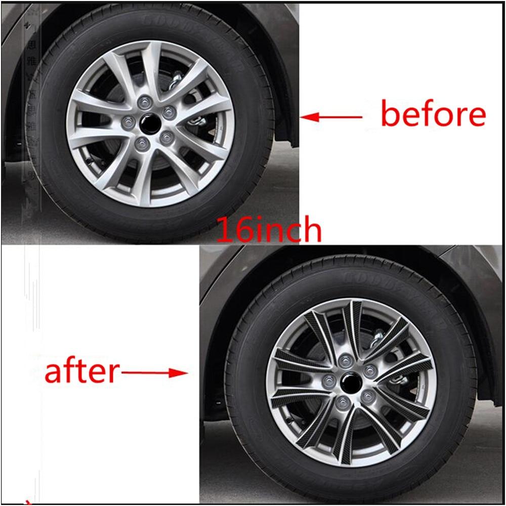 car stying wheel hub carbon fiber car stickers for new mazda 3 m3 axela 2013 2014 2015 external. Black Bedroom Furniture Sets. Home Design Ideas