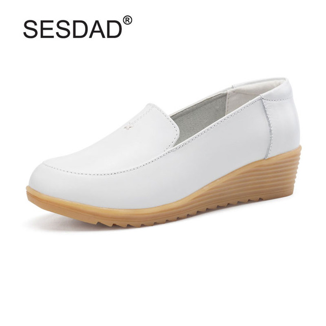 New Genuine Leather White Nurse Shoes Comfortable High Heels Women Low Wedge  Work Shoes Ladies Casual Slip-on Leather Wedges ea21ea0d7fd4