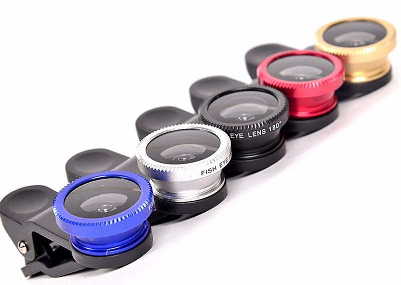 KHP 3 In 1 Universal Phone Lens Clip camera Mobile Phone Lenses For iphone 4 4S 5 5S 6 6S Samsung Galaxy S5 Fish Eye+Macro+Wide 8