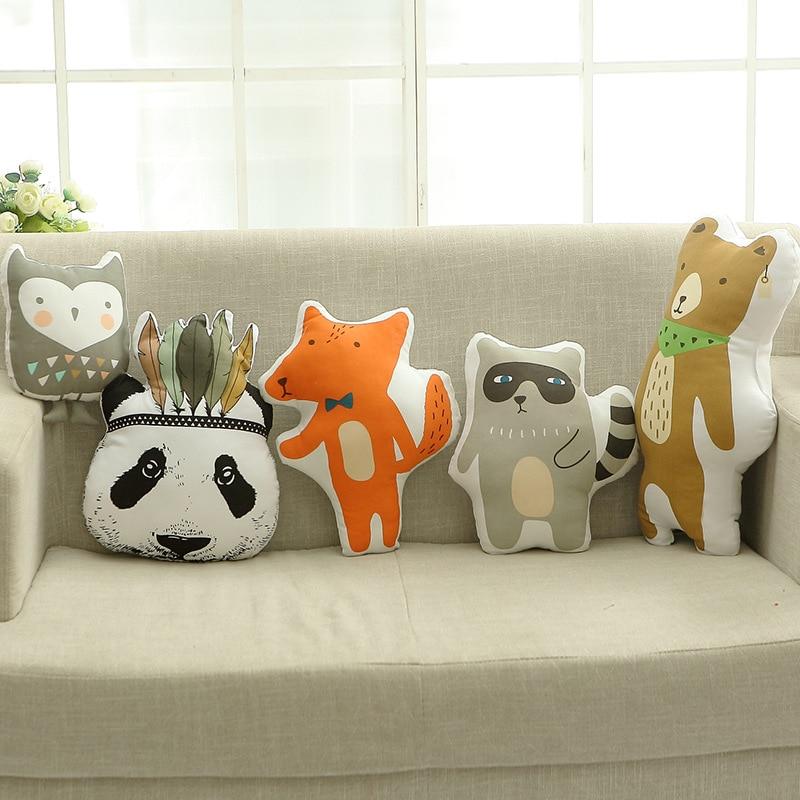 2018 Lovely Animals Fox Bear Raccoon Hunter Cartoon Cushion Pillow Toys Stuffed Plush Dolls Gifts For Kids Decorative Pillows