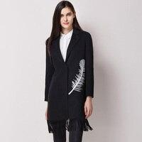 Women S Wool Coats Tassel Office Lady Black Camel Color Feather Pattern Jackets Thin Warm Coats