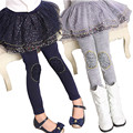 Crianças Leggings Meninas Outono Inverno Além de Veludo Calças Quentes Da Moda Impressão Meninas Leggings com Saia Crianças ruffle Pants