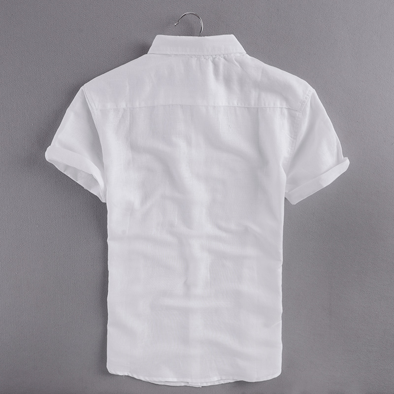 İtalya marka pamuk gömlek erkekler slim fit kısa kollu turn-down - Erkek Giyim - Fotoğraf 2